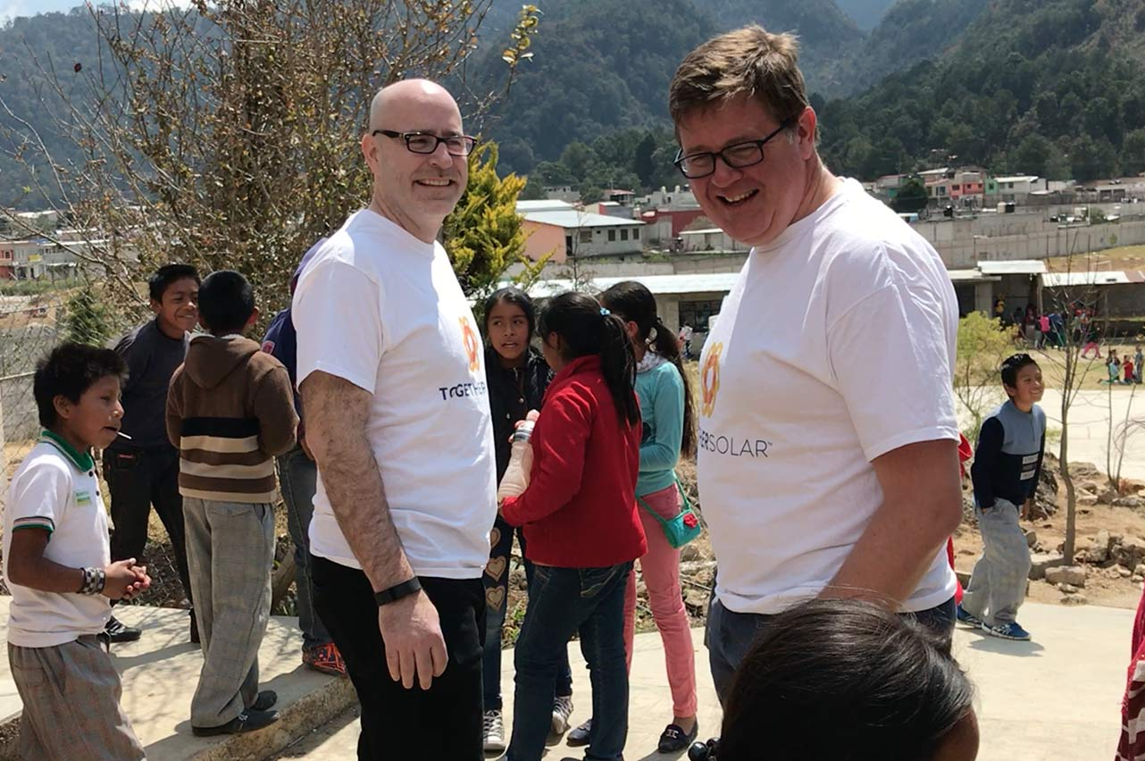 Together Solar founders Paul Keene and Hugh Scott interacting with the students in San Cristobal de las Casas